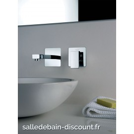 PAÏNI COLLECTION DAX SQUARE-MITIGEUR LAVABO 2 TROUS MURAL 84CR208 R