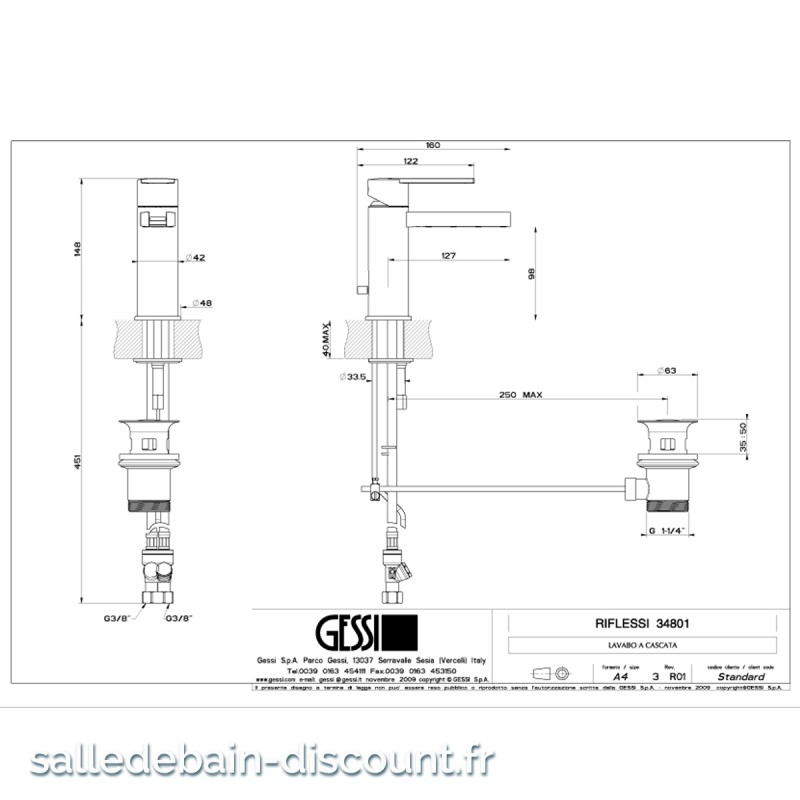 b2bfacbfb774bd GESSI-MITIGEUR LAVABO CASCADE AVEC VIDAGE-34801 à seulement 439.20 ...
