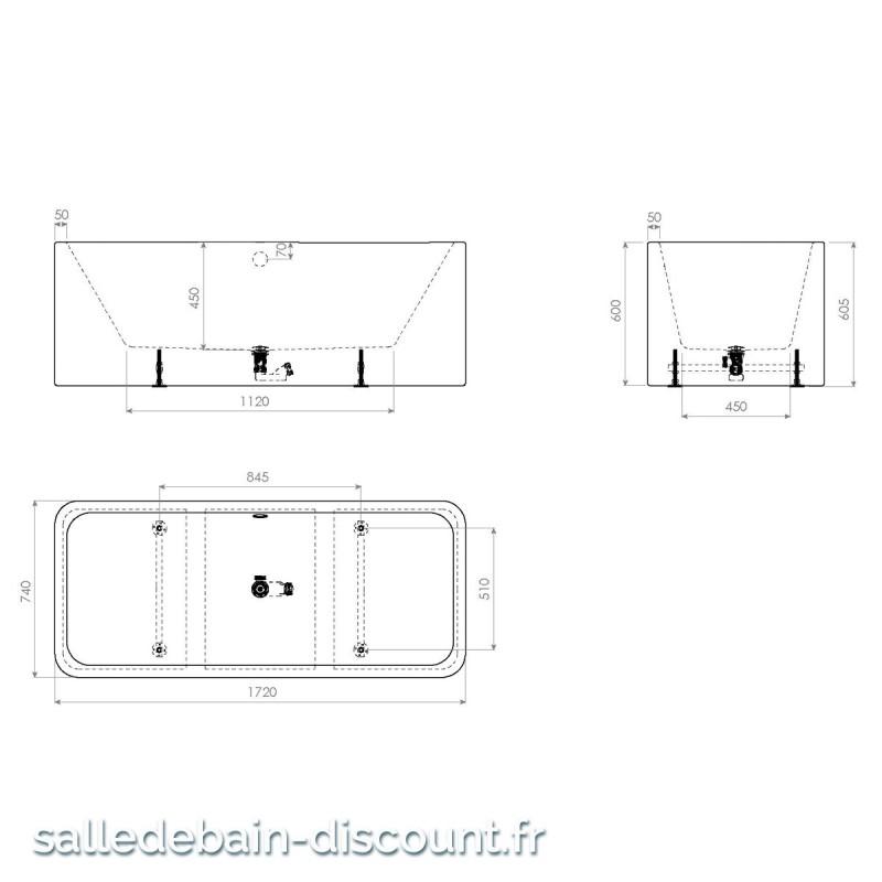 Clou baignoire acrylique 1720x74cm a poser en ilot avec mitigeur et - Pose d une baignoire acrylique ...