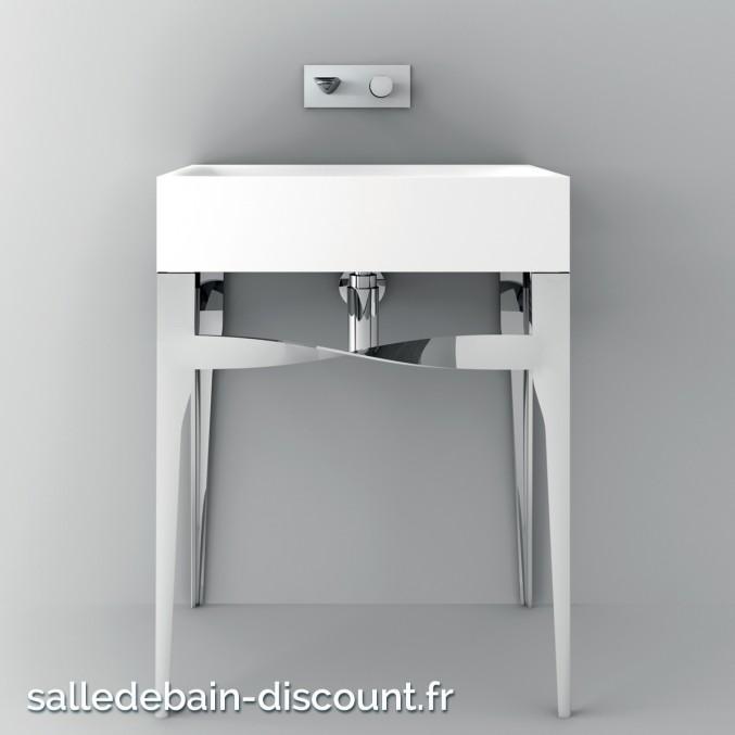 TEUCO- console chromé avec Vasque duralight sans percement de robinetterie-U9Z3D