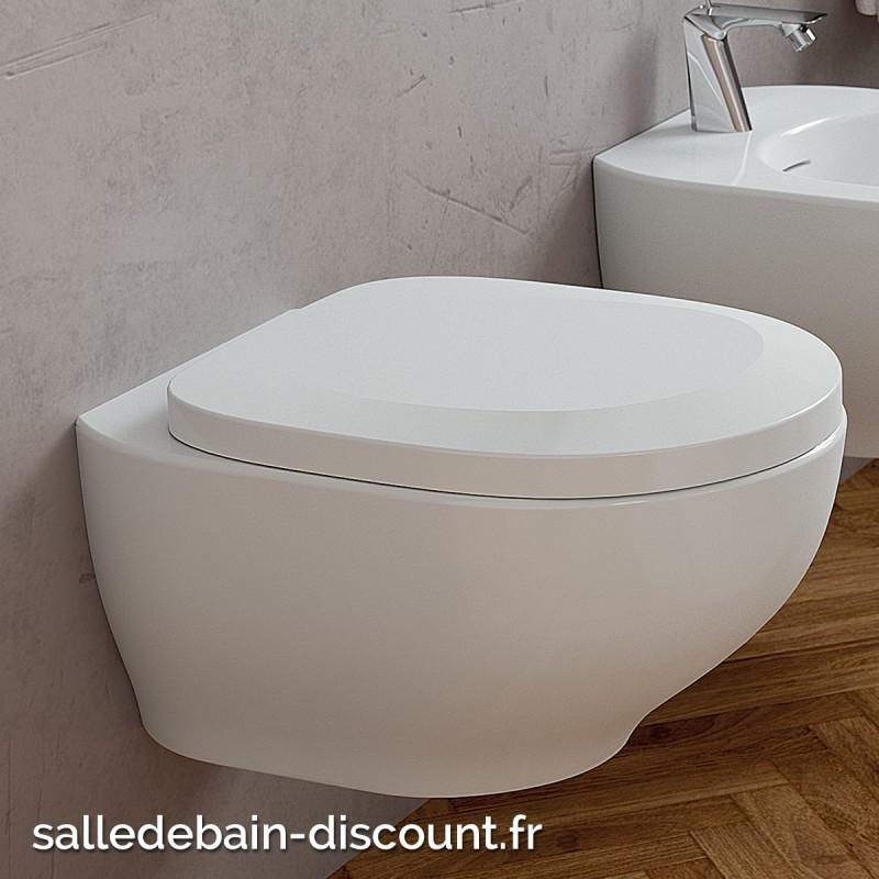 Teuco toilette suspendue blanc brillant outline avec abattant sans - Prix toilette suspendu ...