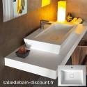 TEUCO- Vasque à poser PAPER en Duralight blanc avec 1 trou de robinetterie 60x45x13,5cm-U3AA0