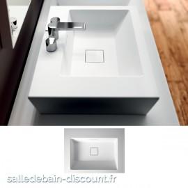 TEUCO- Vasque à poser PAPER en Duralight blanc sans trou de robinetterie 60x45x13,5cm-U3A0