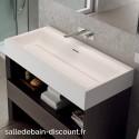 TEUCO- Vasque à poser SUIT en Duralight blanc sans trou de robinetterie 120x50x15cm-U8A12