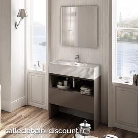 TEUCO- Vasque à poser SUIT en Duralight blanc sans trou de robinetterie 60x50x15cm-U8AA06