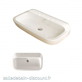 Vasque à poser NAUHA en céramique sans trou de robinetterie 60x47x16cm-X40