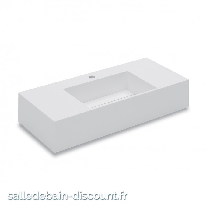 "COSMIC-Lavabo suspendu en ""solid surface"" avec siphon 800x150x400mm-7390512"