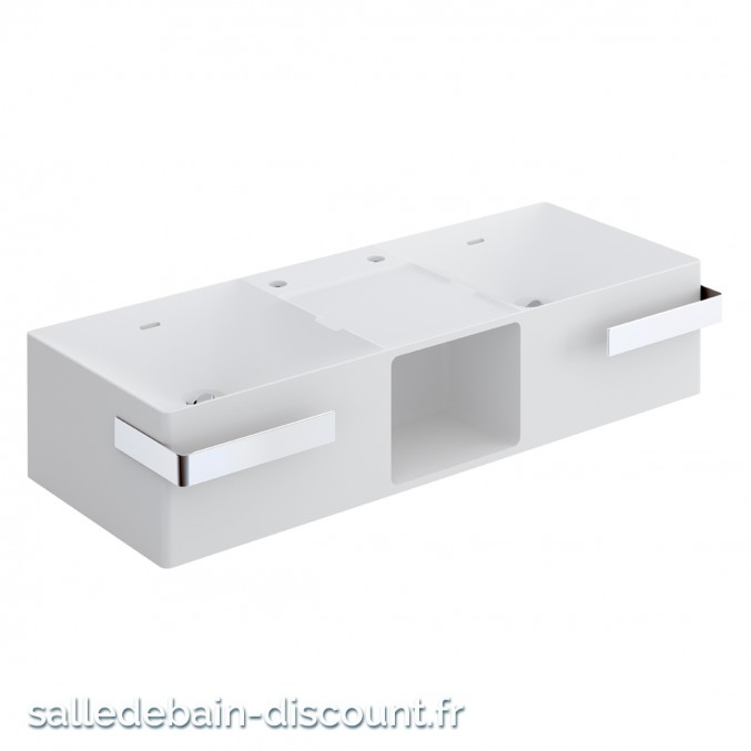"COSMIC-Lavabo suspendu en ""solid surface"" avec siphon 1200x252x465mm-7230504"