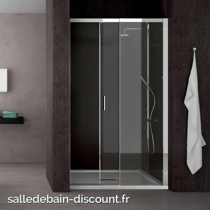 Teuco paroi de douche porte coulissante moving en niche 100x195cm - Paroie de douche coulissante ...