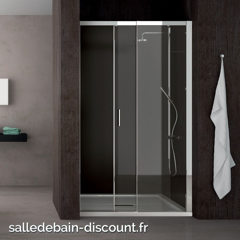 teuco paroi de douche porte coulissante moving en niche 100x195cm. Black Bedroom Furniture Sets. Home Design Ideas