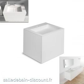 """COSMIC-Meuble lavabo blanc mat 60x50x52cm-vasque moulée en """"bathstone"""" avec siphon-719050531"""