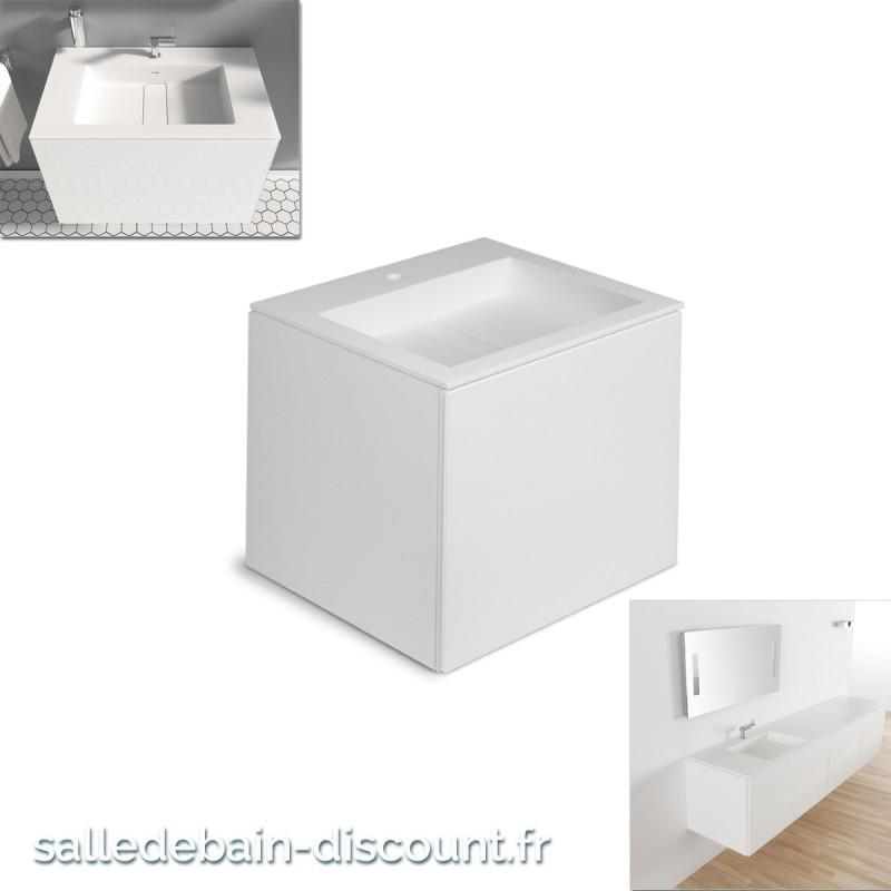 Cosmic meuble lavabo blanc mat 60x50x52cm vasque moul e en - Meuble lavabo 50 cm ...