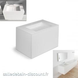 """COSMIC-Meuble lavabo blanc mat 80x50x52cm-vasque moulée en """"bathstone"""" avec siphon-719050532"""