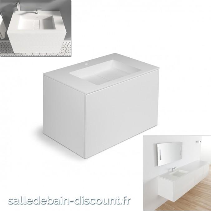 Cosmic meuble lavabo blanc mat 80x50x52cm vasque moul e en bathst for Fabrique meuble a lavabo