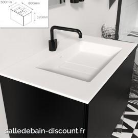 """COSMIC-Meuble lavabo noir mat 80x50x52cm-vasque moulée en """"bathstone"""" avec siphon-719060632"""