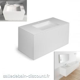 """COSMIC-Meuble lavabo blanc mat 100x50x52cm-vasque moulée en """"bathstone"""" avec siphon-719050533"""