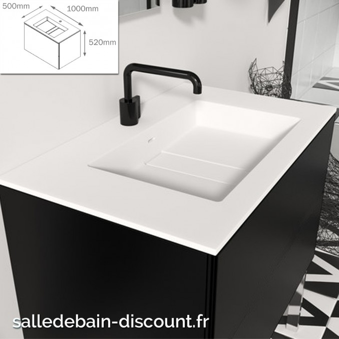 Cosmic Meuble Lavabo Noir Mat 100x50x52cm Vasque Moulee En Bathst