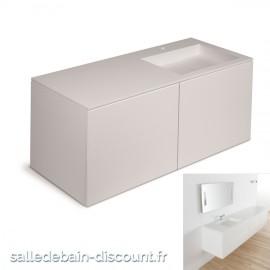 """COSMIC-Meuble lavabo blanc mat 120x50x52cm-vasque moulée en """"bathstone"""" avec siphon-719050534"""