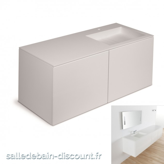 Cosmic Meuble Lavabo Blanc Mat 120x50x52cm Vasque Moulee En Baths