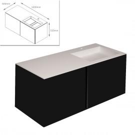 """COSMIC-Meuble lavabo noir mat 120x50x52cm-vasque moulée en """"bathstone"""" avec siphon-719060634"""