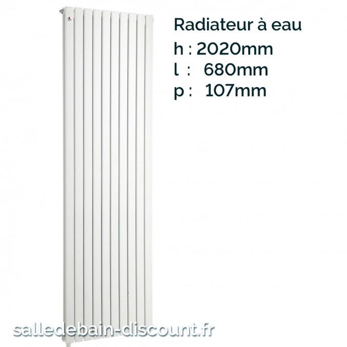 IRSAP PIANO 2-Radiateur blanc à eau 2020x680x107mm-P2F202012