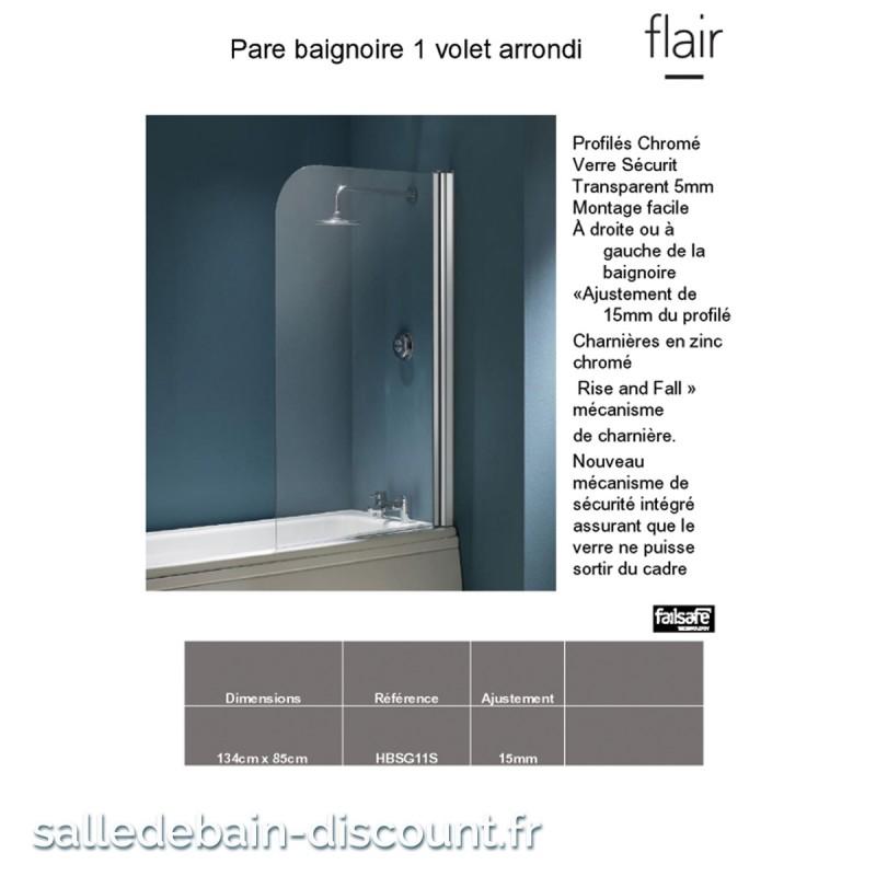 Flair Paroi De Baignoire Amovible Epaisseur 5mm 134x85cm