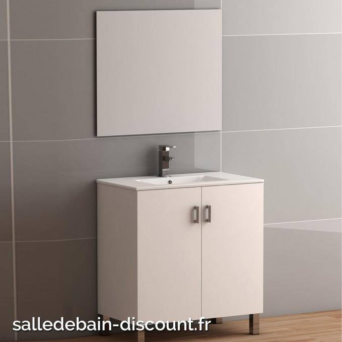 Coycama meuble lavabo 80x84x45cm serie basic 80 avec - Meuble lavabo avec miroir ...