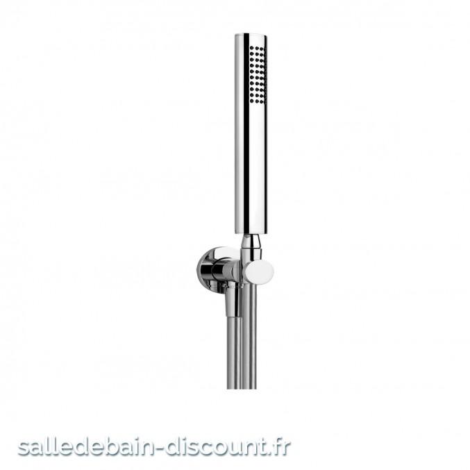 GESSI OVALE 21623-Ensemble ELEGANZA comprenant support fixe, flexible 1,50 m et douchette anticalcaire.