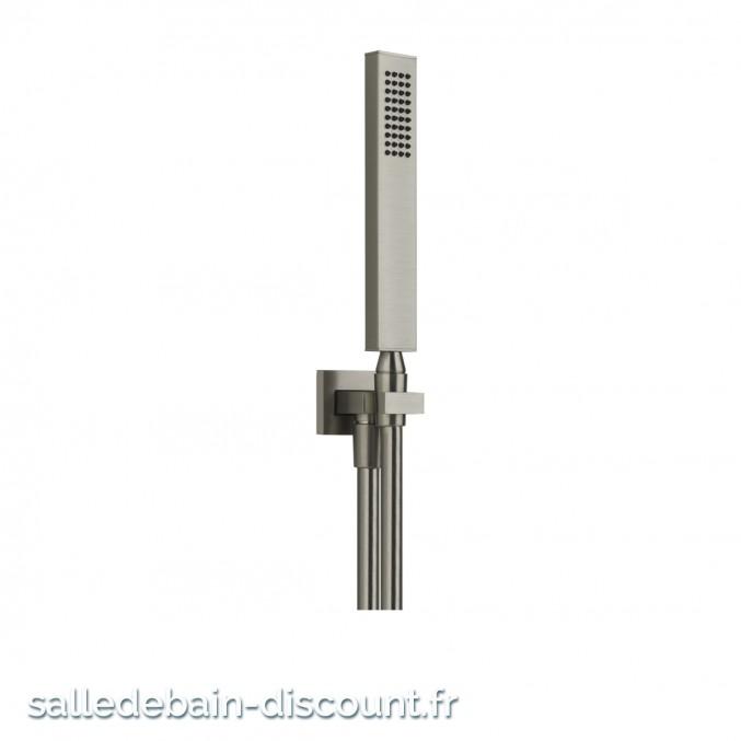 GESSI RETTANGOLO 20123-Ensemble RETTANGOLO comprenant support fixe, flexible 1,50 m et douchette anticalcaire.