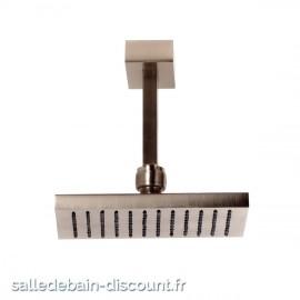 GESSI RETTANGOLO 20151-CIEL DE PLUIE chromé 216x140mm ORIENTABLE ANTICALCAIRE AVEC BRAS AU PLAFOND