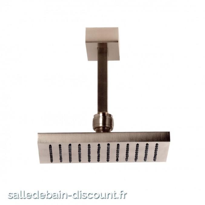 GESSI RETTANGOLO 20151-CIEL DE PLUIE 216x140mm ORIENTABLE ANTICALCAIRE AVEC BRAS AU PLAFOND