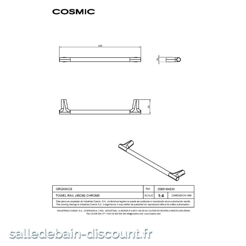 COSMIC-PORTE SERVIETTES de largeur 449mm-2580164 à seulement 102.00...