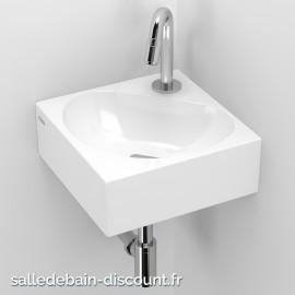 CLOU FLUSH 5 PLUS-LAVE-MAINS d'angle en céramique blanche-CL_03.03050
