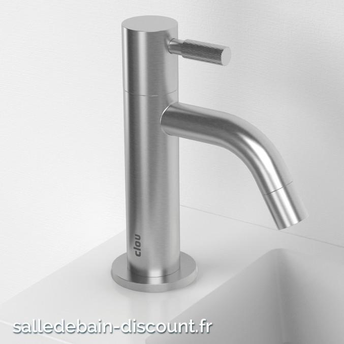 CLOU FREDDO 2-ROBINET EAU FROIDE en inox brossé pour lave-mains-CL_06.03.001.41